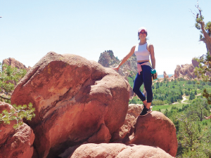 Fitness sensation Pauline DiGiorgio takes in Red Rocks Park during a recent visit to Jefferson County in Colorado. The park is known for its very large red sandstone outcrops.