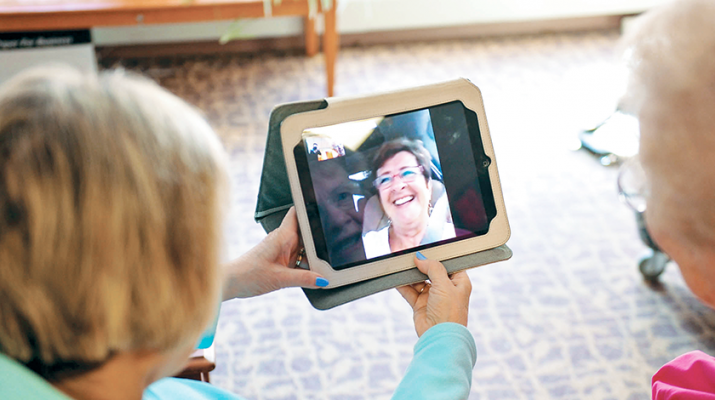 The Masonic Care Community uses technology such as Skype and Facetime to allow residents to visit face-to-face with their loved ones. One resident video-chats weekly with her son who is in China.