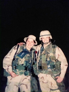 Brooke Stacia Demott, right, is shown with a fellow soldier with the United States Naval Construction Battalions, otherwise known as the Seabees, during Operation Iraqi Freedom. She was stationed at the Ali Al Salem Air Base in Kuwait in 2003.