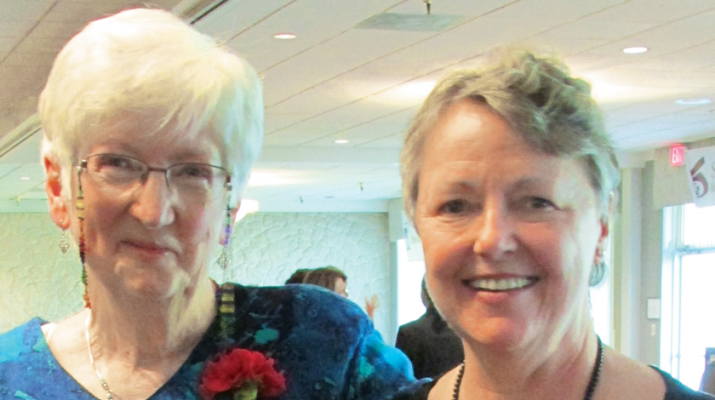 Sister Maureen Denn, left, joins Marybeth McCall after they both earned Genesis Group's Lifetime Achievement Awards recently.