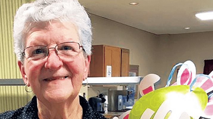 Frances Retzloff of Ilion helps with Easter decorations recently at the Mohawk Homestead adult care facility.