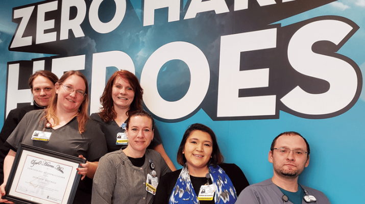 """Jennifer Mitchell, RN, team leader in the inpatient department at Little Falls Hospital, is the recipient of the first Zero Harm Hero award. Mitchell has been with LFH since 2017. The award was created to help promote a strong culture of quality, safety and patient satisfaction, ensuring high reliability care for patients, staff and visitors. """"The award recognizes any LFH employee who demonstrates a commitment to this work,"""" said Michael Ogden, president of LFH. Helping to celebrate the occasion are, from left, Jessica Mercado, Mitchell, Stephanie Pope, Allana Richards, Eunice Bond and Michael Paul."""