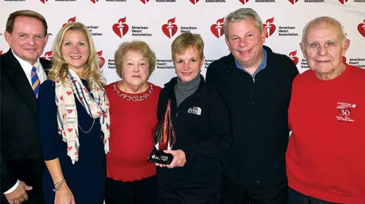 Celebrating the presentation of the Torch of Strength Award are, from left, Albert Pylinski, Liz Campbell, Dorothy Sperbeck-Cornnell, Theresa Swider, Dan Swider, and Allan Sperbeck-Cornnell.
