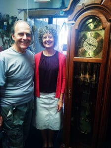 """Joe and Fran Guerino of Frankfort are enjoying their """"golden years"""" while co-owners of Guerino's Clock Repair, state Route 5, Frankfort."""
