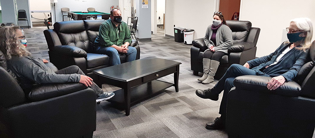 Rise RCOC offers support, assistance, a listening ear and a safe place to hang out for those recovering from addiction. Above, from left, are team members and volunteers Barb Bellstedt, Jeff Petrie, Melissa Snyder and Jean Verri.