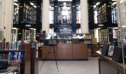 The front lobby of the Utica Public Library. This historic building offers a wealth of books waiting to be read.