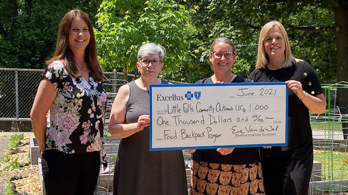 From left, Shayna Keller, Excellus BCBS community investments and partnerships manager; Gail Huber Rochette, Little Falls Community Outreach program coordinator; Tamara Razzano, Little Falls Community Outreach executive director; Eve Van de Wal, Excellus BCBS regional president.
