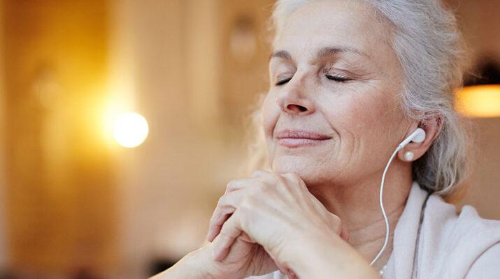 Lady listening music